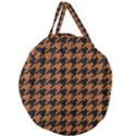 HOUNDSTOOTH1 BLACK MARBLE & RUSTED METAL Giant Round Zipper Tote View2