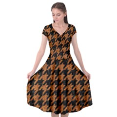 Houndstooth1 Black Marble & Rusted Metal Cap Sleeve Wrap Front Dress