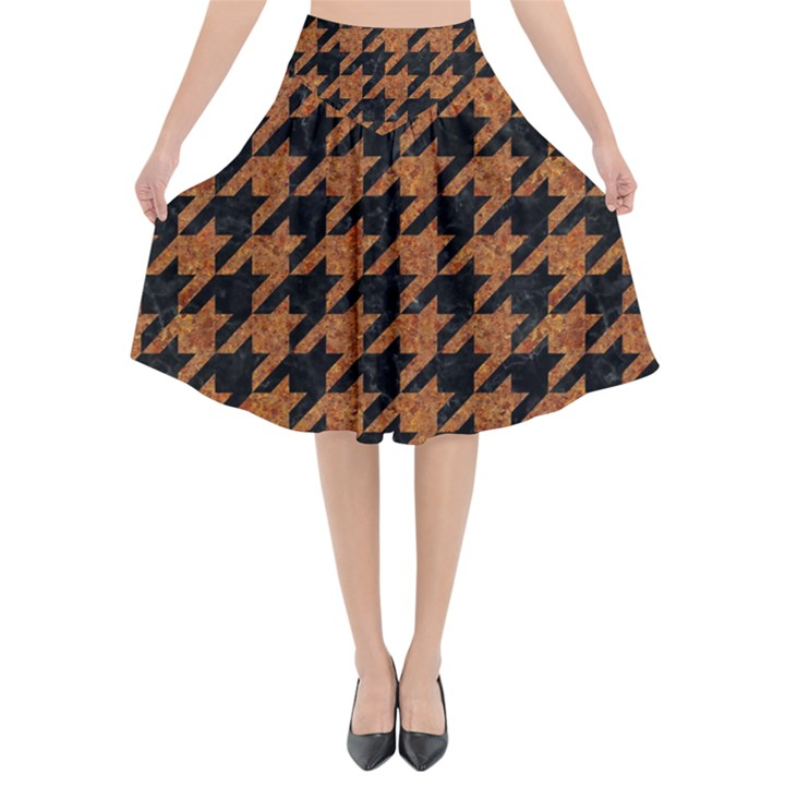 HOUNDSTOOTH1 BLACK MARBLE & RUSTED METAL Flared Midi Skirt
