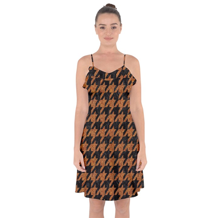 HOUNDSTOOTH1 BLACK MARBLE & RUSTED METAL Ruffle Detail Chiffon Dress