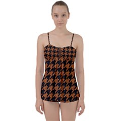 Houndstooth1 Black Marble & Rusted Metal Babydoll Tankini Set