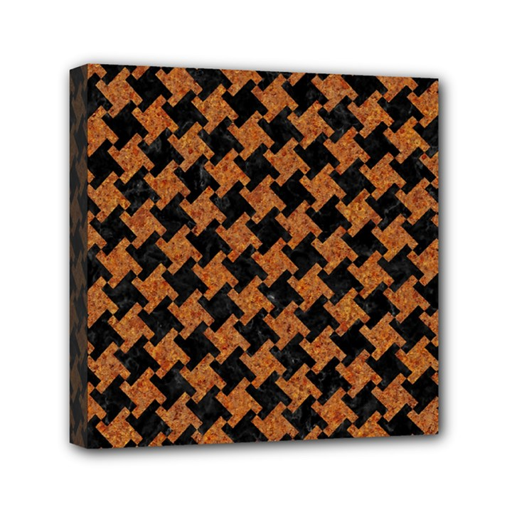 HOUNDSTOOTH2 BLACK MARBLE & RUSTED METAL Mini Canvas 6  x 6