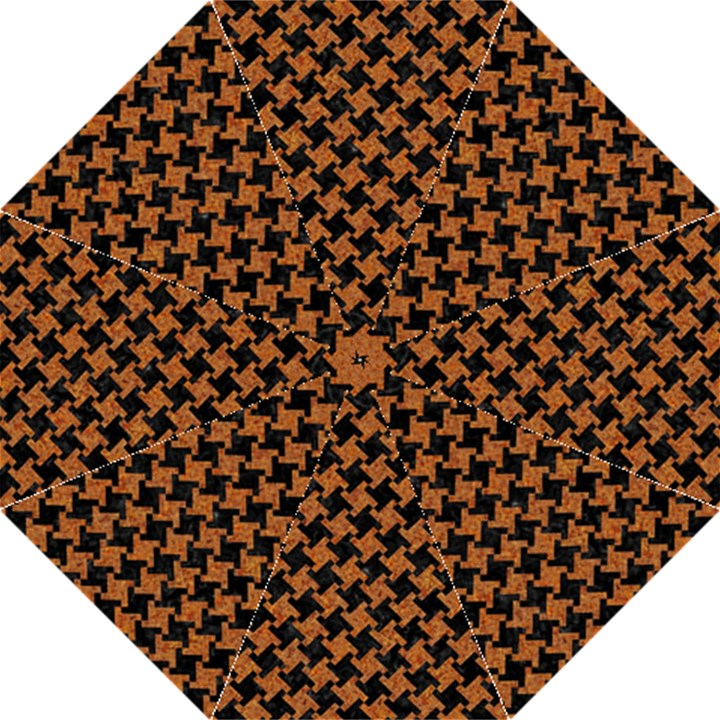 HOUNDSTOOTH2 BLACK MARBLE & RUSTED METAL Folding Umbrellas