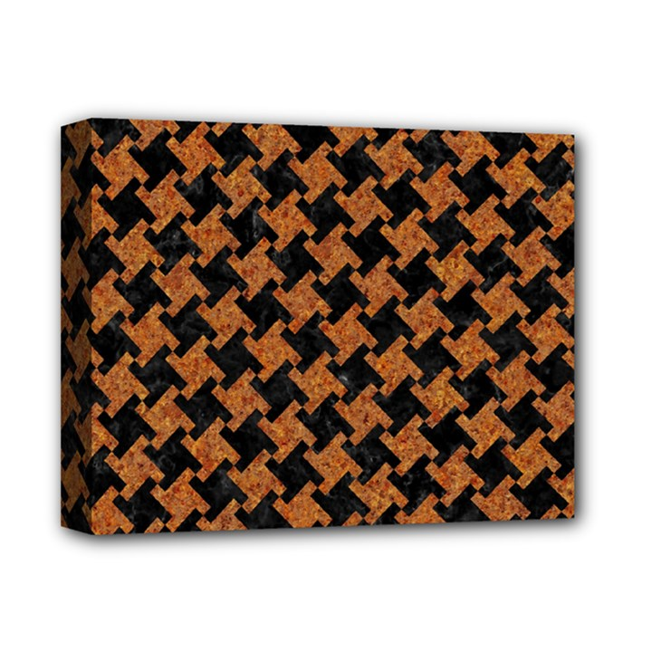 HOUNDSTOOTH2 BLACK MARBLE & RUSTED METAL Deluxe Canvas 14  x 11