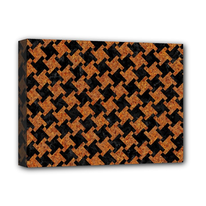 HOUNDSTOOTH2 BLACK MARBLE & RUSTED METAL Deluxe Canvas 16  x 12