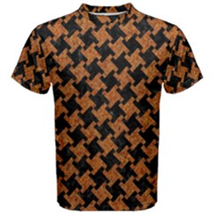 Houndstooth2 Black Marble & Rusted Metal Men s Cotton Tee