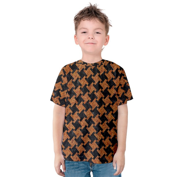 HOUNDSTOOTH2 BLACK MARBLE & RUSTED METAL Kids  Cotton Tee