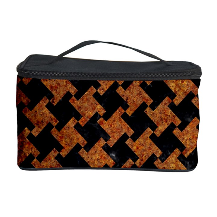 HOUNDSTOOTH2 BLACK MARBLE & RUSTED METAL Cosmetic Storage Case