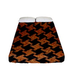 Houndstooth2 Black Marble & Rusted Metal Fitted Sheet (full/ Double Size)