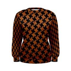 Houndstooth2 Black Marble & Rusted Metal Women s Sweatshirt