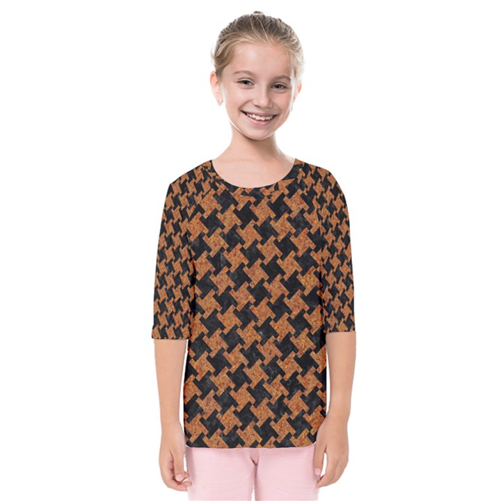 HOUNDSTOOTH2 BLACK MARBLE & RUSTED METAL Kids  Quarter Sleeve Raglan Tee