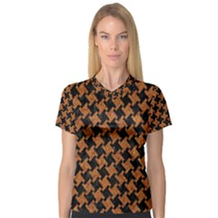 Houndstooth2 Black Marble & Rusted Metal V Neck Sport Mesh Tee
