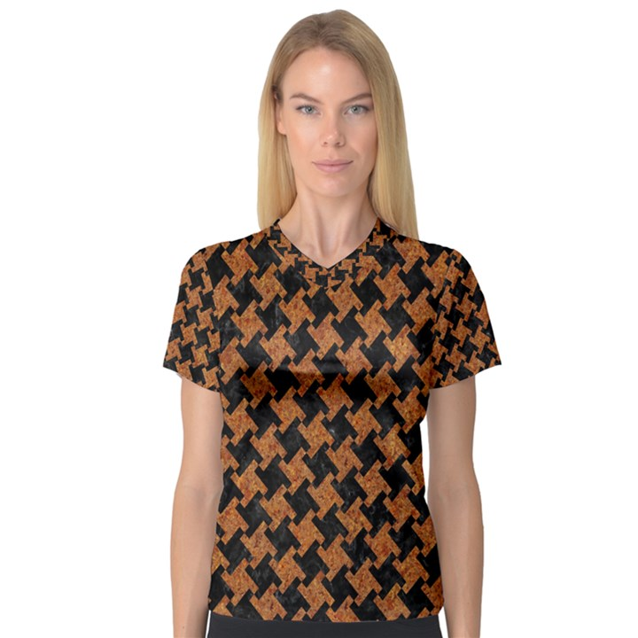 HOUNDSTOOTH2 BLACK MARBLE & RUSTED METAL V-Neck Sport Mesh Tee