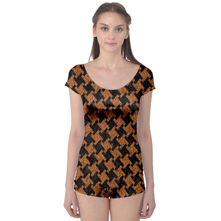 HOUNDSTOOTH2 BLACK MARBLE & RUSTED METAL Boyleg Leotard