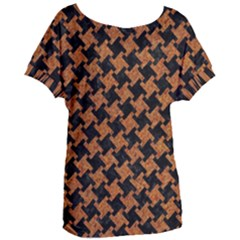 Houndstooth2 Black Marble & Rusted Metal Women s Oversized Tee