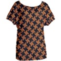 HOUNDSTOOTH2 BLACK MARBLE & RUSTED METAL Women s Oversized Tee View1