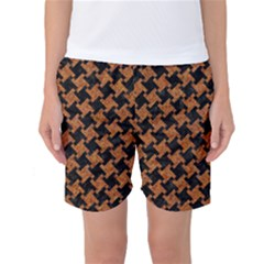 Houndstooth2 Black Marble & Rusted Metal Women s Basketball Shorts