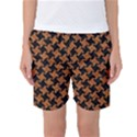 HOUNDSTOOTH2 BLACK MARBLE & RUSTED METAL Women s Basketball Shorts View1