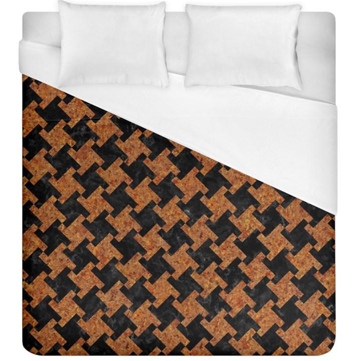 HOUNDSTOOTH2 BLACK MARBLE & RUSTED METAL Duvet Cover (King Size)