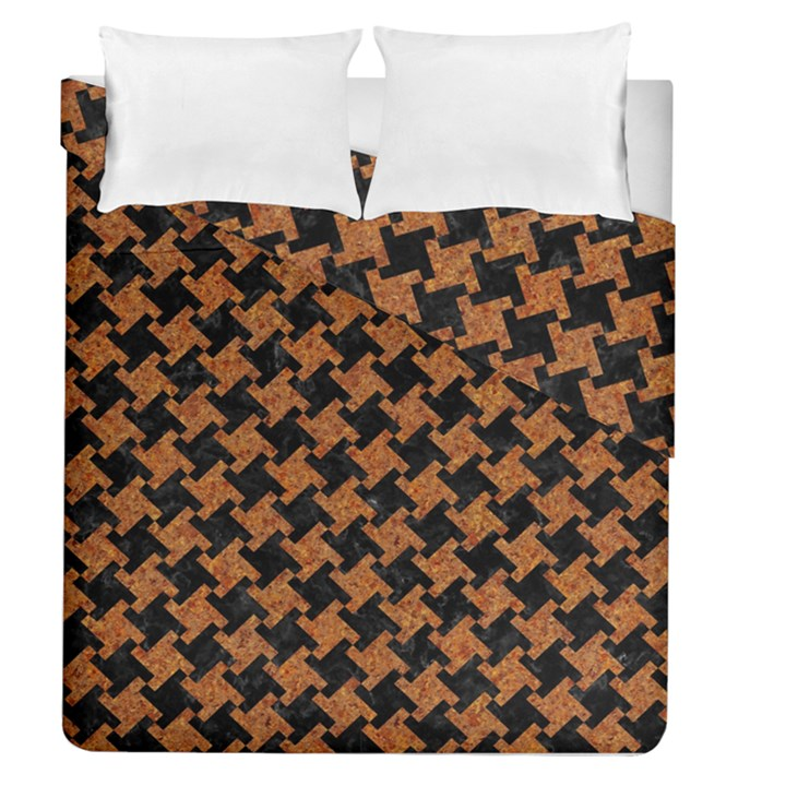 HOUNDSTOOTH2 BLACK MARBLE & RUSTED METAL Duvet Cover Double Side (Queen Size)