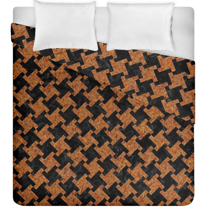 HOUNDSTOOTH2 BLACK MARBLE & RUSTED METAL Duvet Cover Double Side (King Size)