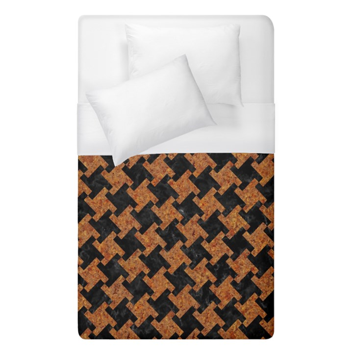 HOUNDSTOOTH2 BLACK MARBLE & RUSTED METAL Duvet Cover (Single Size)