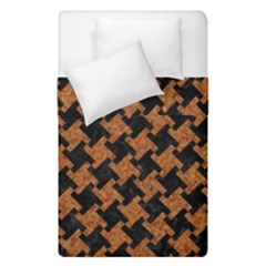 Houndstooth2 Black Marble & Rusted Metal Duvet Cover Double Side (single Size)