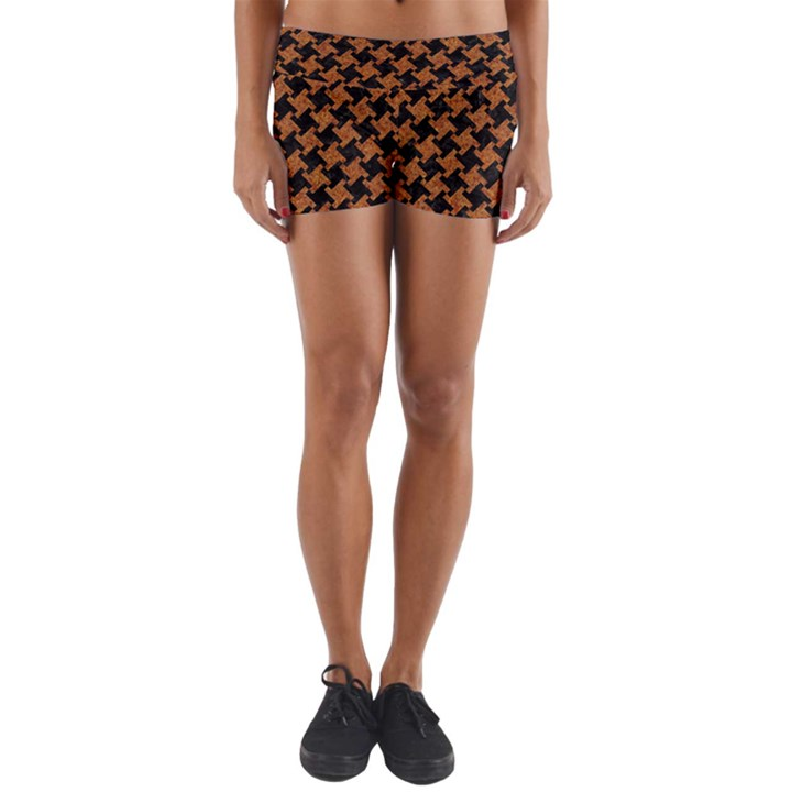 HOUNDSTOOTH2 BLACK MARBLE & RUSTED METAL Yoga Shorts