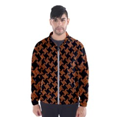 Houndstooth2 Black Marble & Rusted Metal Wind Breaker (men)