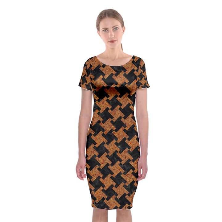 HOUNDSTOOTH2 BLACK MARBLE & RUSTED METAL Classic Short Sleeve Midi Dress