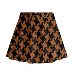 Houndstooth2 Black Marble & Rusted Metal Mini Flare Skirt
