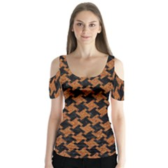 Houndstooth2 Black Marble & Rusted Metal Butterfly Sleeve Cutout Tee