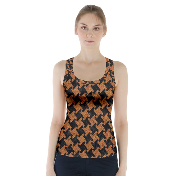 HOUNDSTOOTH2 BLACK MARBLE & RUSTED METAL Racer Back Sports Top