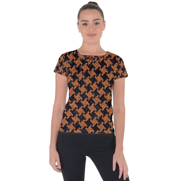 HOUNDSTOOTH2 BLACK MARBLE & RUSTED METAL Short Sleeve Sports Top