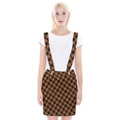 Houndstooth2 Black Marble & Rusted Metal Braces Suspender Skirt