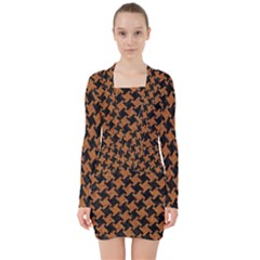 Houndstooth2 Black Marble & Rusted Metal V Neck Bodycon Long Sleeve Dress