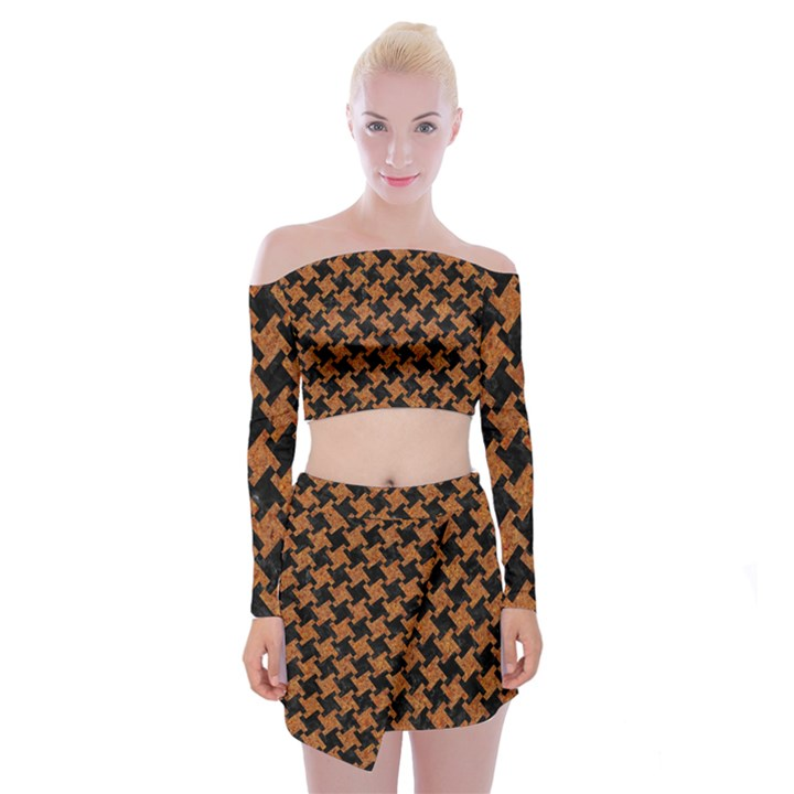HOUNDSTOOTH2 BLACK MARBLE & RUSTED METAL Off Shoulder Top with Mini Skirt Set