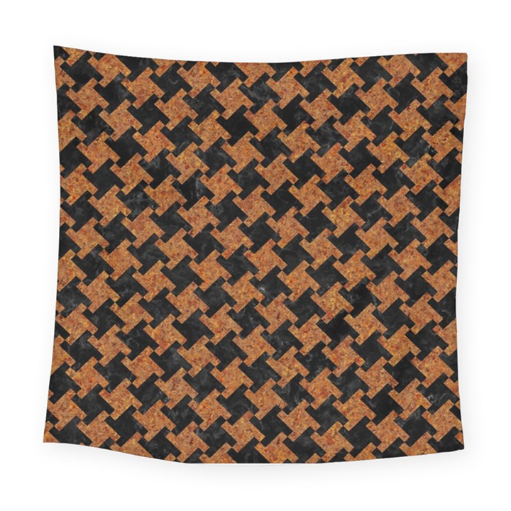 HOUNDSTOOTH2 BLACK MARBLE & RUSTED METAL Square Tapestry (Large)