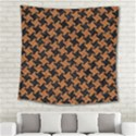HOUNDSTOOTH2 BLACK MARBLE & RUSTED METAL Square Tapestry (Large) View2