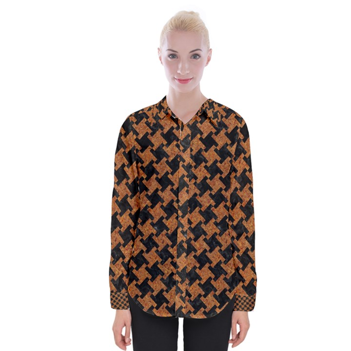 HOUNDSTOOTH2 BLACK MARBLE & RUSTED METAL Womens Long Sleeve Shirt