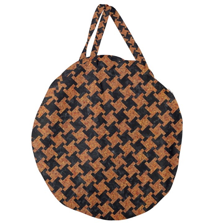HOUNDSTOOTH2 BLACK MARBLE & RUSTED METAL Giant Round Zipper Tote