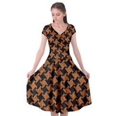 Houndstooth2 Black Marble & Rusted Metal Cap Sleeve Wrap Front Dress