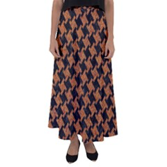 Houndstooth2 Black Marble & Rusted Metal Flared Maxi Skirt