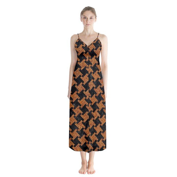 HOUNDSTOOTH2 BLACK MARBLE & RUSTED METAL Button Up Chiffon Maxi Dress