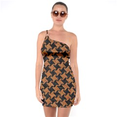 Houndstooth2 Black Marble & Rusted Metal One Soulder Bodycon Dress