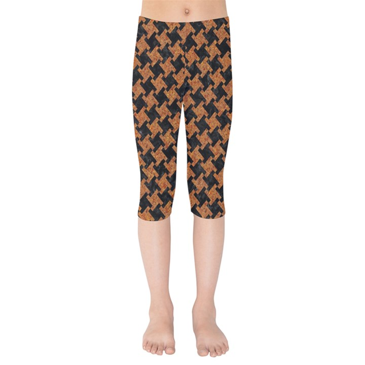 HOUNDSTOOTH2 BLACK MARBLE & RUSTED METAL Kids  Capri Leggings