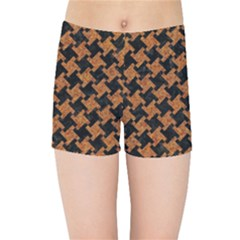 Houndstooth2 Black Marble & Rusted Metal Kids Sports Shorts