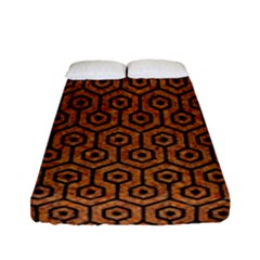 Hexagon1 Black Marble & Rusted Metal Fitted Sheet (full/ Double Size)