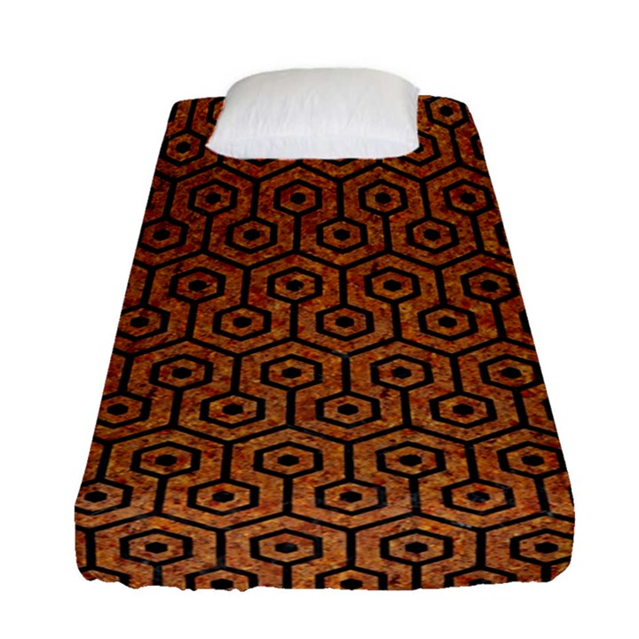 HEXAGON1 BLACK MARBLE & RUSTED METAL Fitted Sheet (Single Size)