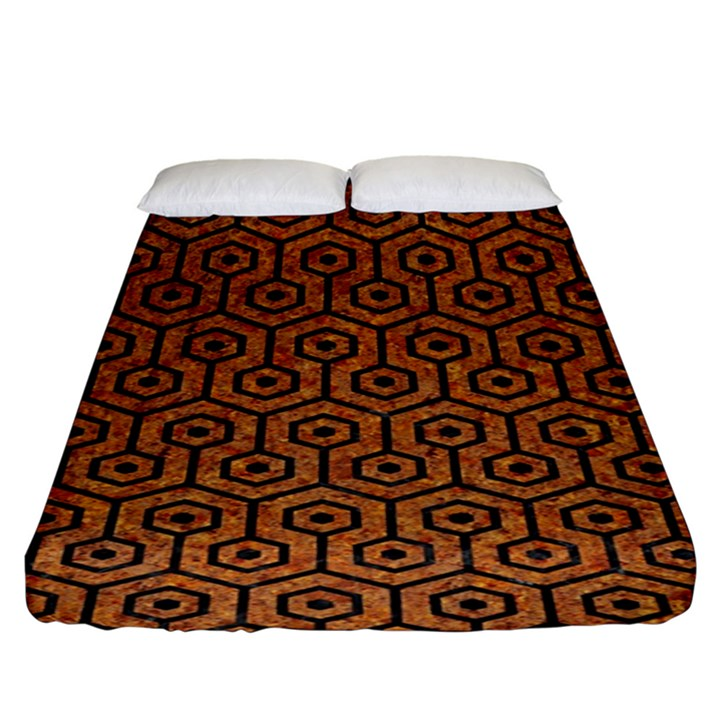 HEXAGON1 BLACK MARBLE & RUSTED METAL Fitted Sheet (King Size)